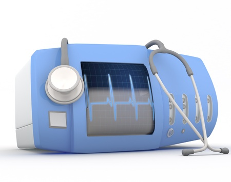 arrhythmias: Electrocardiogram device with stethoscope  - 3D render