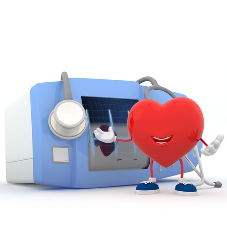 cardioverter: Smily heart showing electrocardiogram device - 3D render