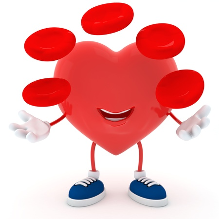 cardioverter: Smily heart with blood cell - 3D render