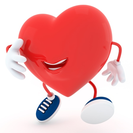 Smily heart jumping on white background- 3D render Stock Photo - 16945325
