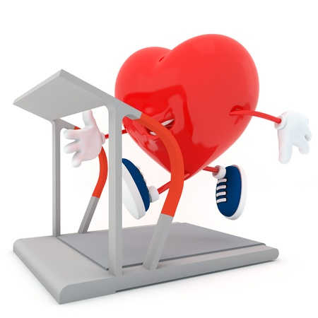 Smily heart running on treadmill - 3D render photo