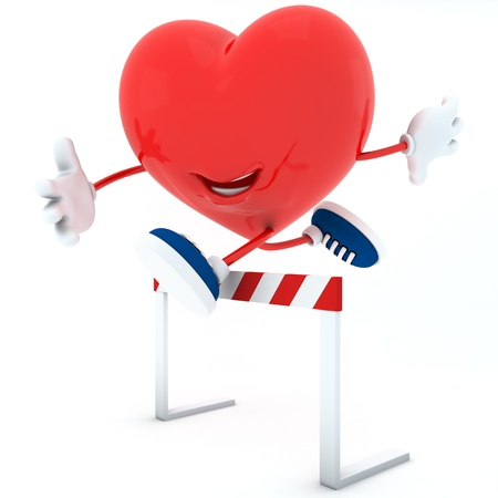 Smily heart jumping over a hurdle - 3D render Stock Photo - 16945321