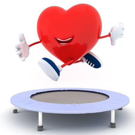 rebounding: Smily heart jumping on Trampoline - 3D render Stock Photo
