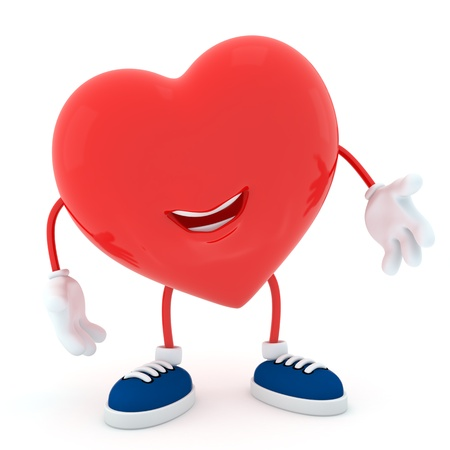 to clarify: Smily heart on white background - 3D render