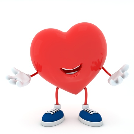 Smily heart on white background - 3D render Stock Photo - 16945318