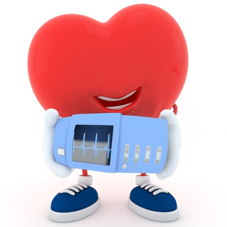 Smily heart showing electrocardiogram device - 3D render