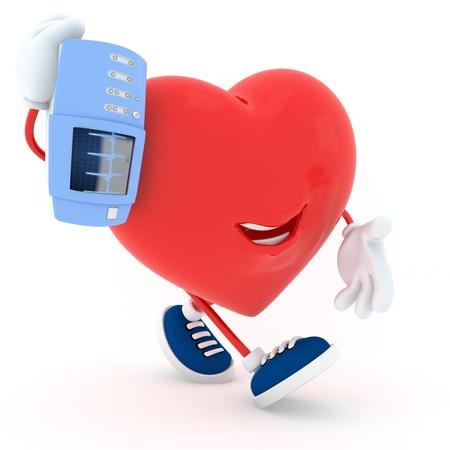cardioverter: Piggyback electrocardiogram devices heart - 3D render