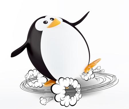 health hazard: Sliding down penguin. 3D render Stock Photo