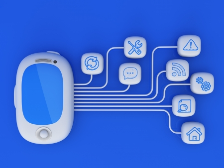 Smartphone with cloud of application icons  Note: All Devices design and all screen interface graphics in this series are designed by the contributor him self. photo