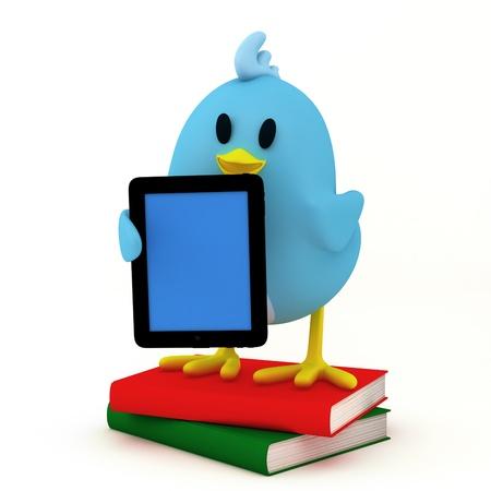 little bird with e-book reader- 3D render photo
