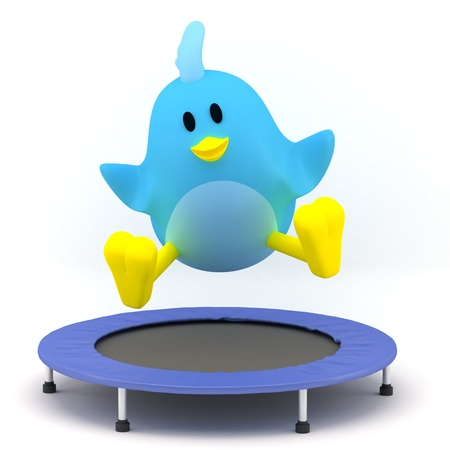 rebounding: Little bird  jumping on Trampoline - 3D render Stock Photo
