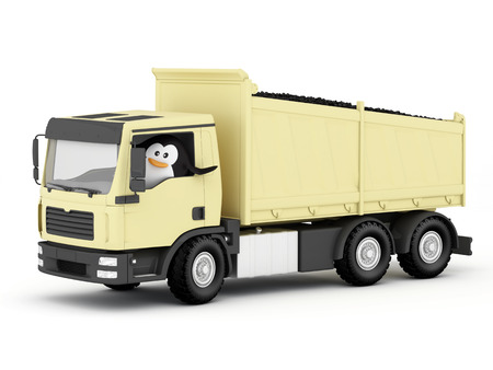 forwarding: The penguin as a coal delivery driver Stock Photo