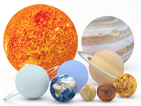 astrophysics: Illustration of our solar system on White Plane - 3D Render  Maps from http:planetpixelemporium.com