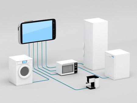 物事コンセプト - スマート フォンに接続している家電のインターネット 写真素材