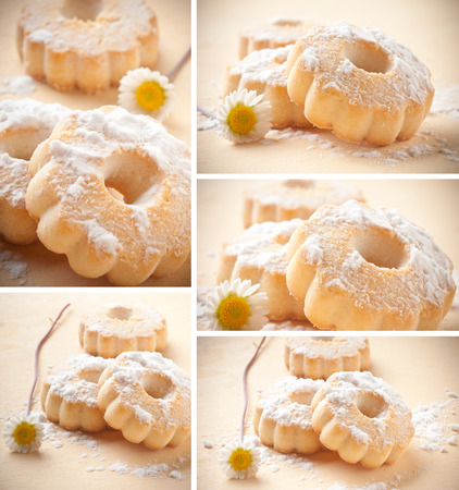 sugar veil: Collage of canestrelli biscuit on wood table
