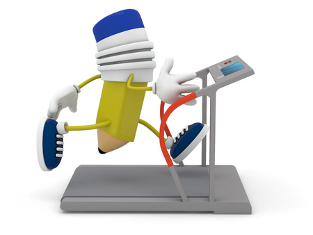 Yellow pencil running on treadmill - 3D render Archivio Fotografico