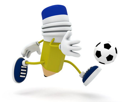 Pencil Soccer Player - 3D Render photo