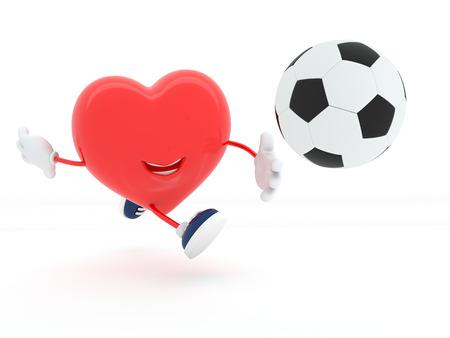 Cute soccer player heart on white - 3D render photo