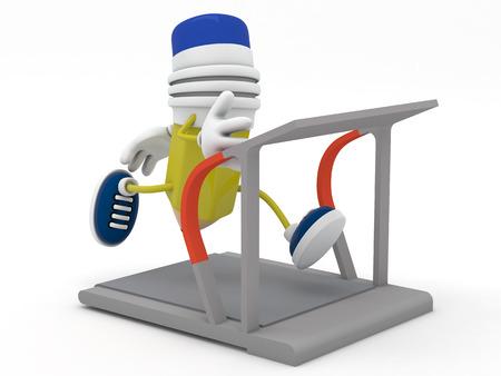 estereotipo: L�piz de color amarillo corriendo en la cinta - 3D render Foto de archivo