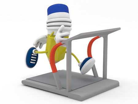 tapis: Yellow pencil running on treadmill - 3D render Stock Photo
