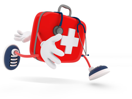 first aid box: Stethoscope and First Aid Kit isolated - 3D Render Stock Photo