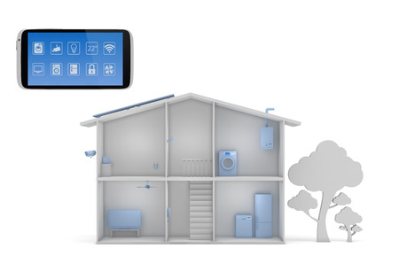 control panel: Smart house concept with smartphone app control panel Stock Photo