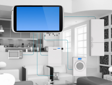 objects: Internet of Things Concept - Home Appliances Connected To Smartphone