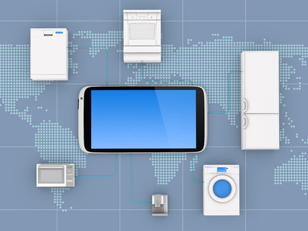 protocols: Internet of Things Concept - Home Appliances Connected To Smartphone