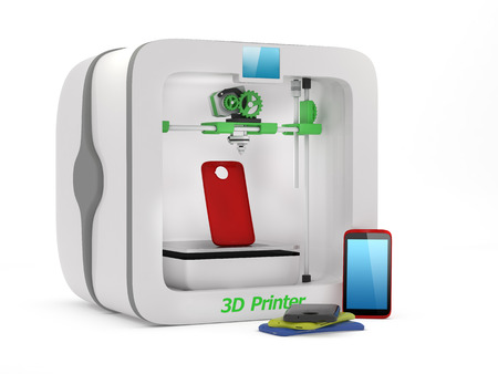 3D printer with used smartphone cover isolated on white background photo