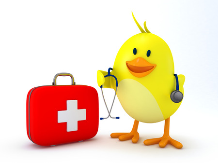 first aid kit: Little doctor chick with first aid kit and stethoscope on white - 3D render Stock Photo