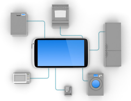interconnection: Internet of Things Concept - Home Appliances Connected To Smartphone