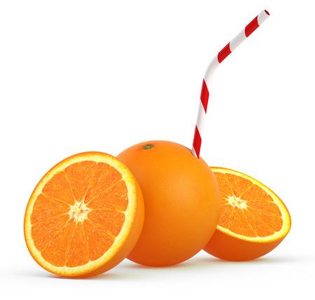 Orange with straw on white background - 3D Render photo