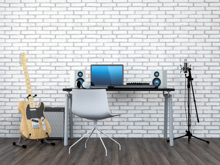 music production: Home Recording Studio (3D Render)