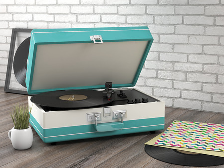 turntables: Retro turntable on wooden floor- 3D Render Stock Photo