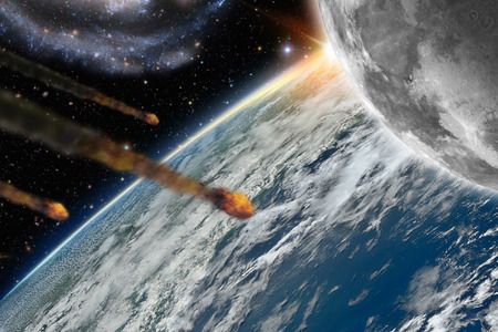 end of world: Illustration of asteroids flying over planet earth and its moon - 3D Render -