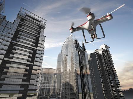 Drone Flying voor luchtfotografie of video-opnamen
