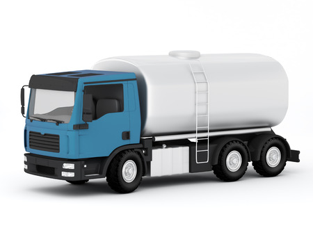 petroleum blue: Gasoline Tank Truck - 3D Render Stock Photo