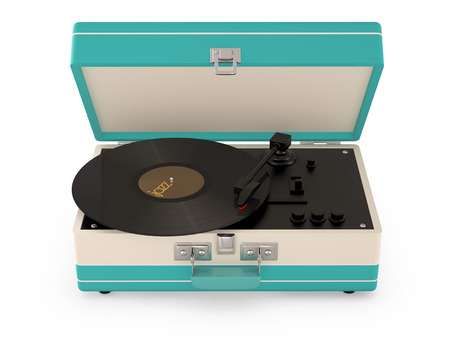 Retro portable turntable isolated on white. (3D Render)