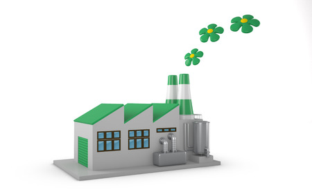 environmentally: Environmentally friendly factory concept. Green factory isolated on white background.