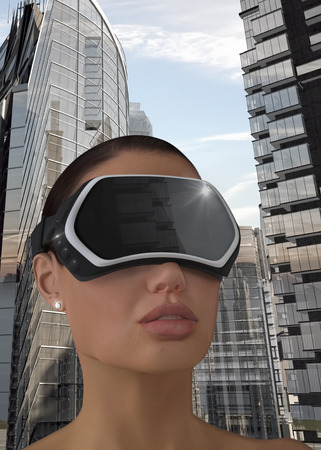 wearable: 3D Illustration of a Woman wearing a Virtual reality head-mounted display (HMD).