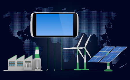 ecofriendly: Ecofriendly concept.  Green factory, wind turbine and solar panel connected to smartphone iin front of world map background.