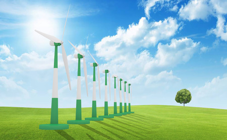 ecological environment: Wind farm. Stock Photo