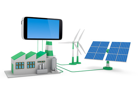ecofriendly: Ecofriendly concept.  Green factory, wind turbine and solar panel connected to smartphone isolated on white background.