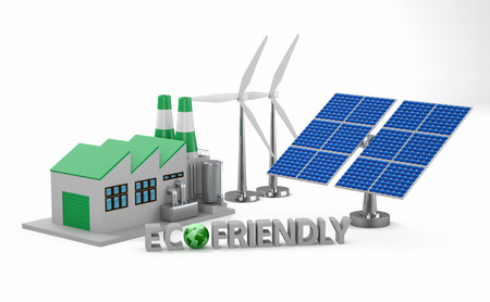 ecofriendly: Ecofriendly concept.  Green factory, wind turbine and solar panel isolated on white background. Stock Photo
