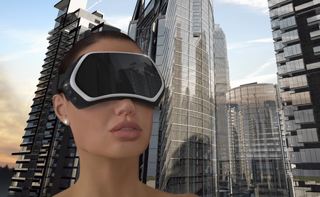 virtual technology: 3D Illustration of a Woman wearing a Virtual reality head-mounted display (HMD).