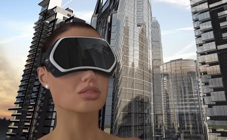 3D-Illustration von einer Frau mit einer virtuellen Realität Head-Mounted Display (HMD). Standard-Bild - 40883980