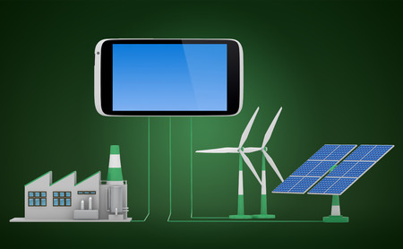 ecofriendly: Ecofriendly concept.  Green factory, wind turbine and solar panel connected to smartphone.