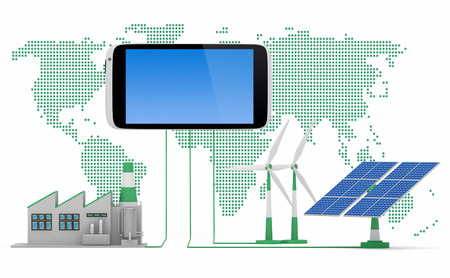ecofriendly: Ecofriendly concept.  Green factory, wind turbine and solar panel connected to smartphone in front of world map background.