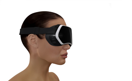 stereoscopic: 3D Illustration of a Woman wearing a Virtual reality head-mounted display (HMD).