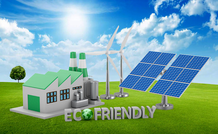 ecofriendly: Ecofriendly concept.  Green factory, wind turbine and solar panel. Stock Photo